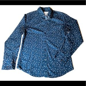 Men's Slim Casual Long Sleeve Button Up M